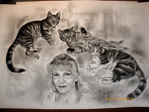Woman and cats