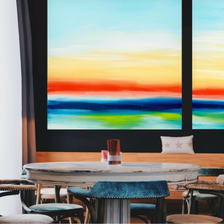 """Sunrise Sundown"" on display at a restaurant"