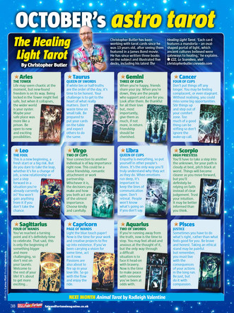 Chris Butler and the Healing Light Tarot. As featured in the October 2017 issue of Take A Break (Fate and Fortune).