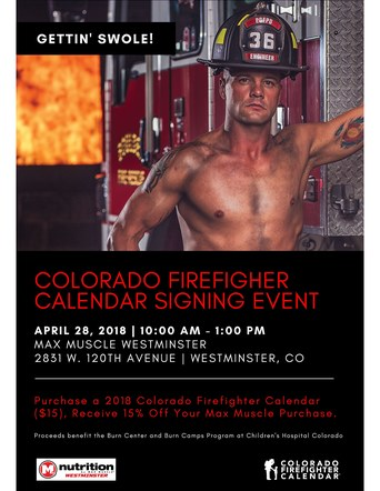 Colorado Firefighter Calendar Signing Event Poster