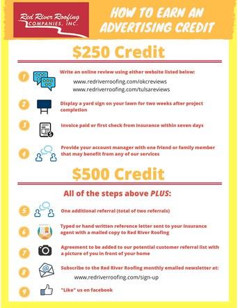 Advertising Credit Instruction Sheet