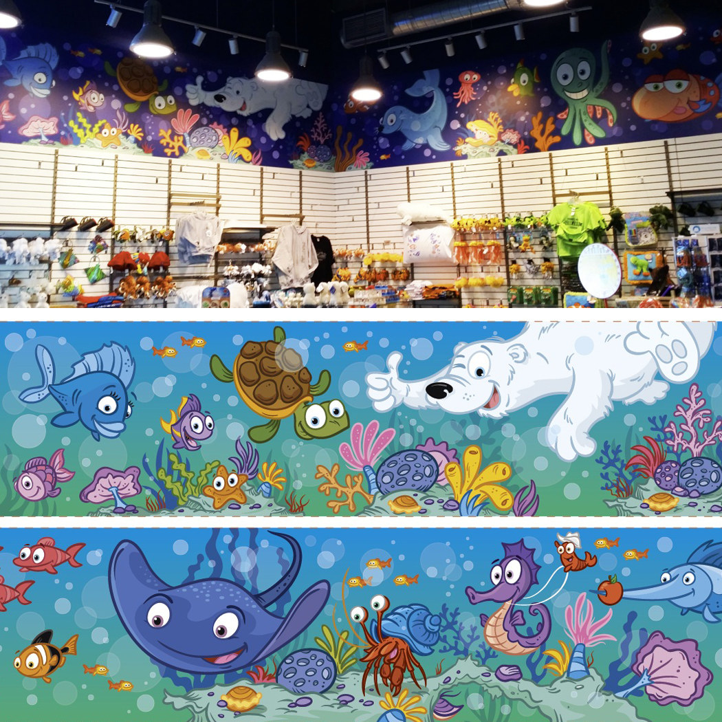 Image 63 feet long for the gift shop of Aquarium of Quebec, Canada