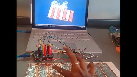 Virtual Xylophone in Unity Controlled via an Adafruit 12x Capacitive Touch Sensor Shield for Arduino