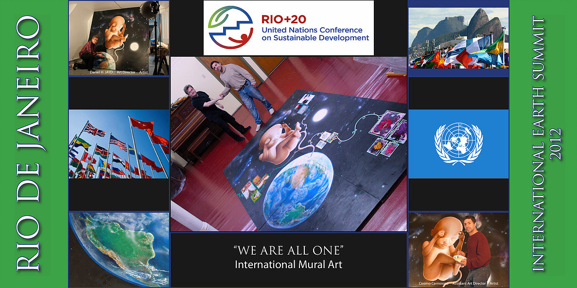"""TITLE: Promotional Flyer of """"We Are All One"""" (International Earth Summit   Mural Art Project)"""