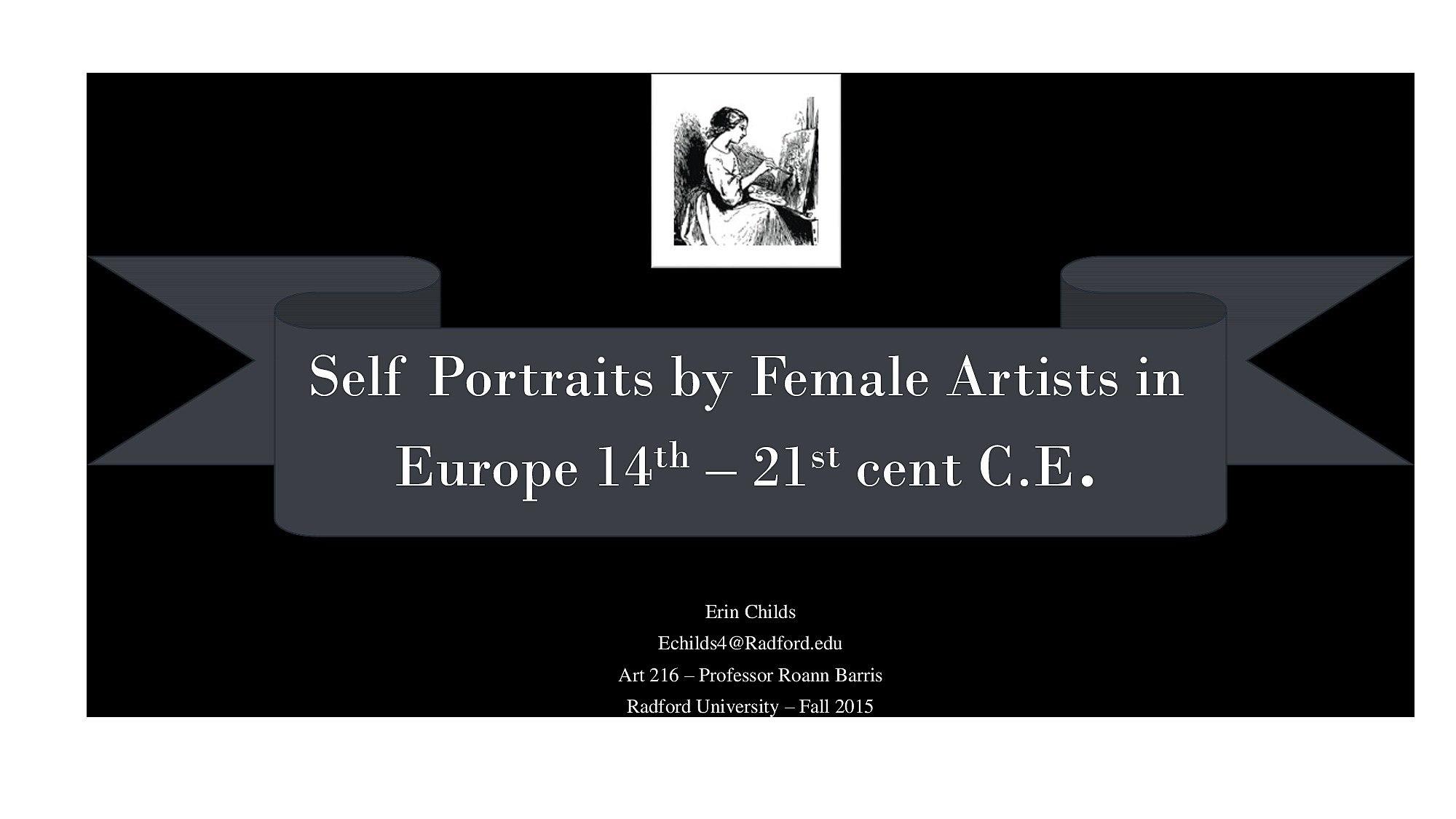 Female Self Portraits Through History