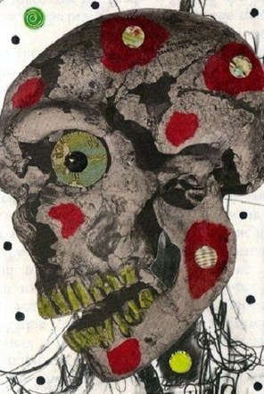 Shy Skull - Mixed Media Collage (on paper) - 2012
