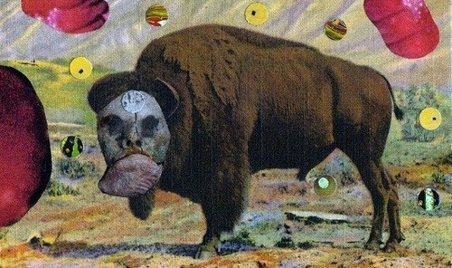 Masked Buffalo - Mixed Media Collage (altered postcard) - 2017